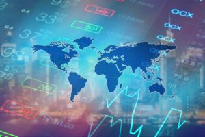 World global economy, financial concept. Abstract business collage: stock market chart, financial data and world map. Global business, economy, finance, investment abstract background.