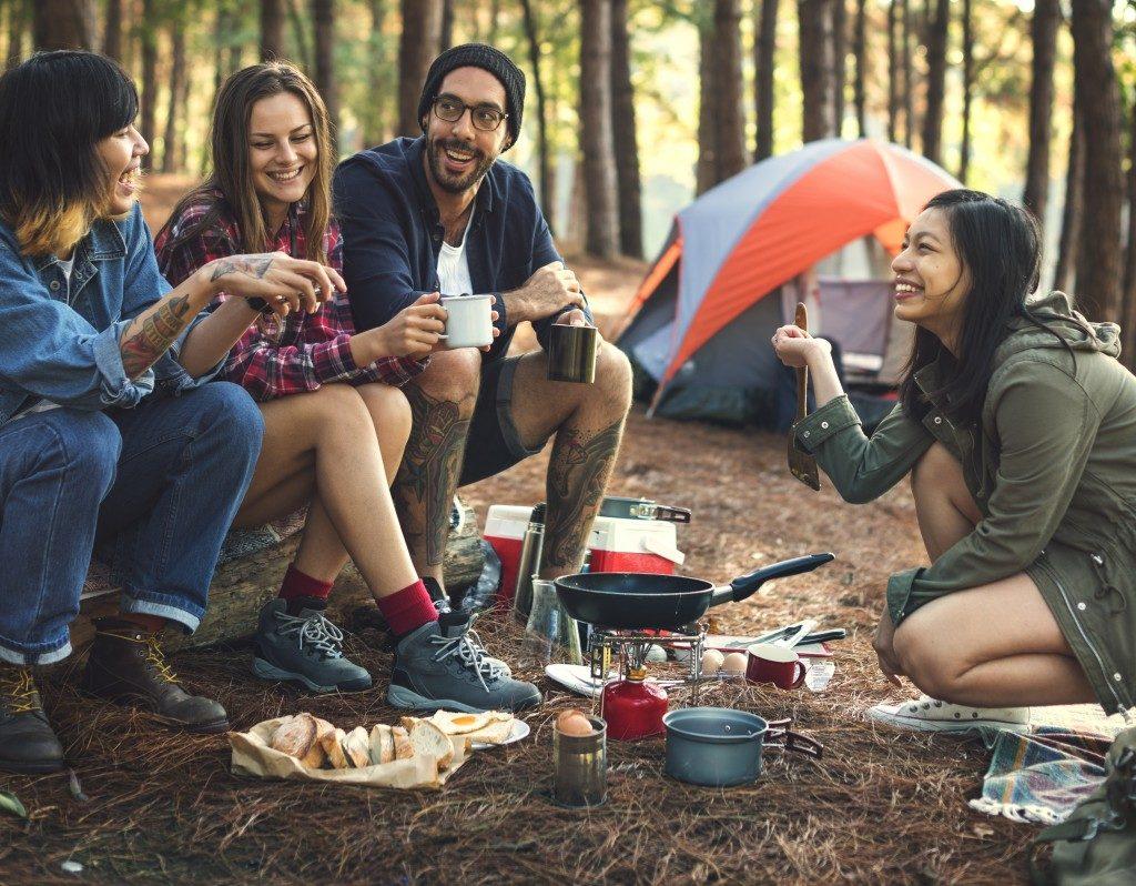 Friends in a camping trip