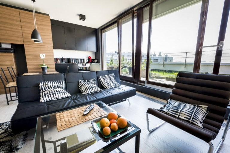 modern apartment interior design with a nice view