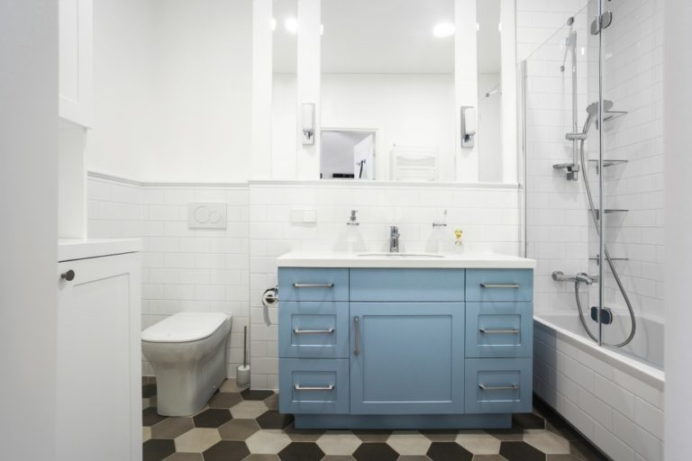 Small Bathroom in white and blue color themes