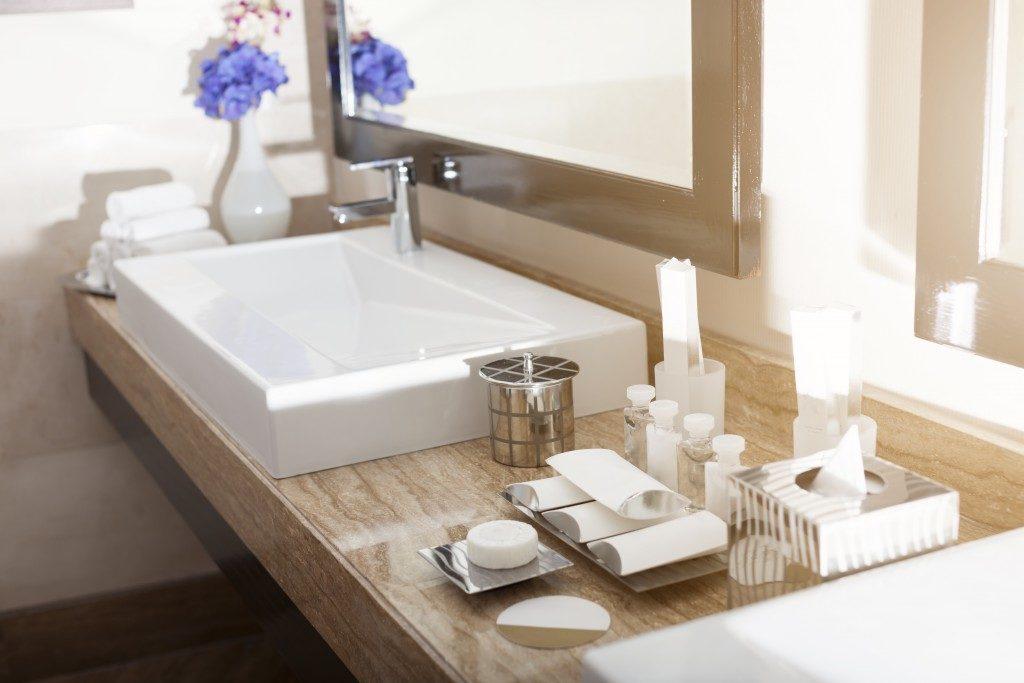 bathroom sink in wood finish