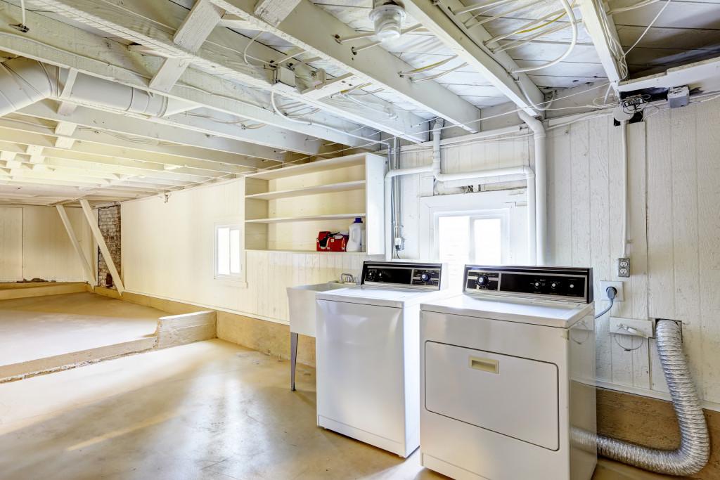 washing machines in a basement